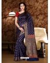 Perfect Navy Blue Patola Silk Saree