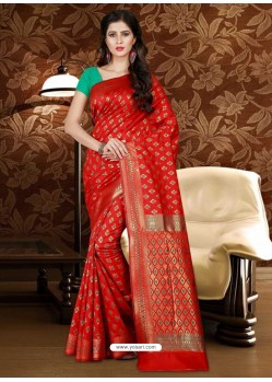 Observable Red Patola Silk Saree