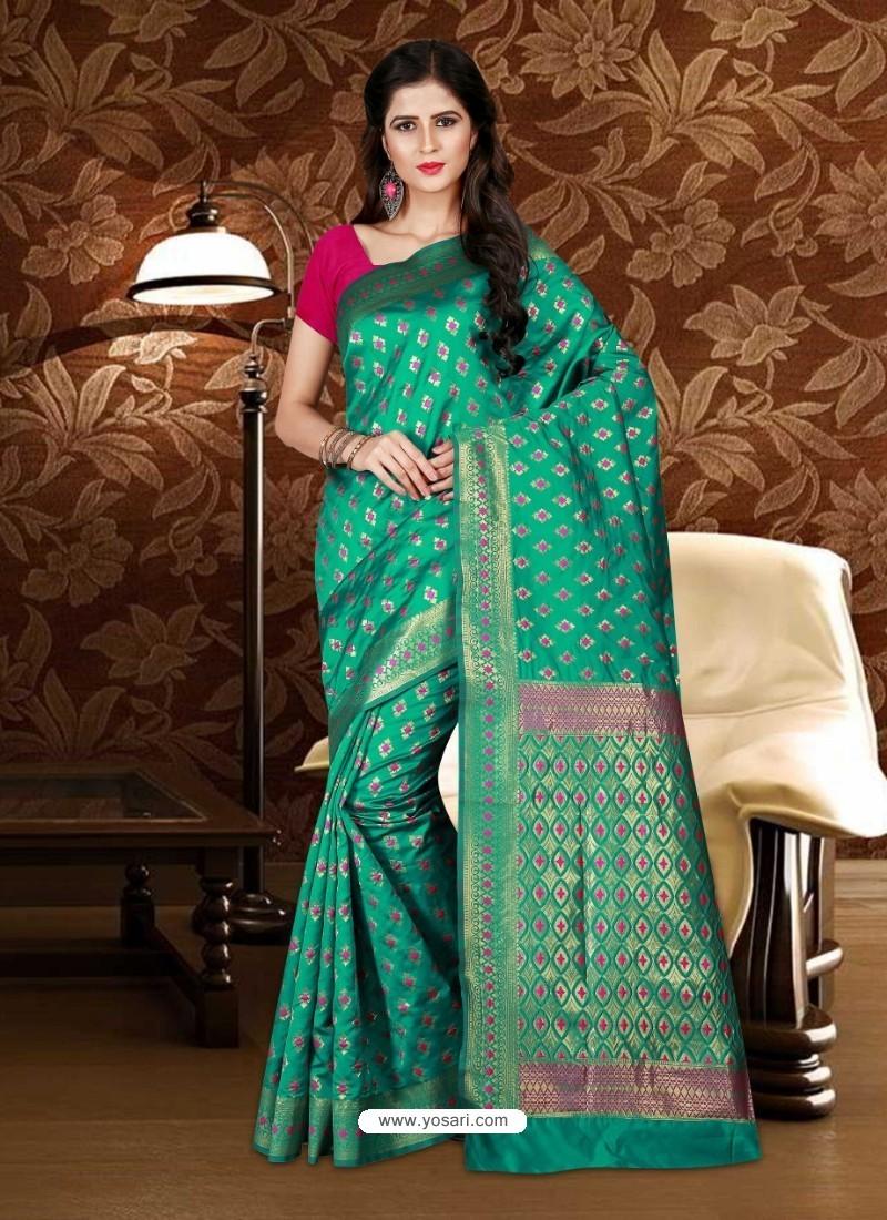 Desirable Teal Patola Silk Saree