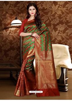 Adorable Rust Patola Silk Saree