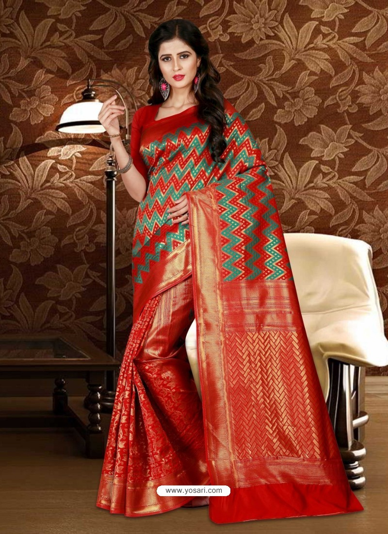 c923212752 Buy Perfect Red Patola Silk Saree | Party Wear Sarees