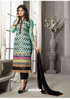 Black And Green Chanderi Silk Salwar Kameez