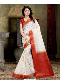Desirable Off White Banarasi Silk Saree