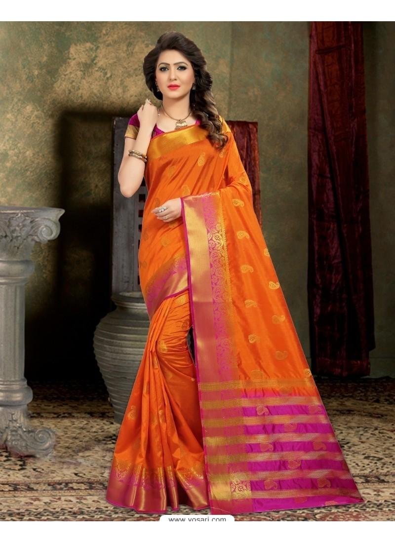 Phenomenal Orange Banarasi Silk Saree