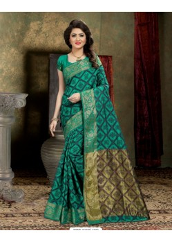 Perfect Teal Banarasi Silk Saree