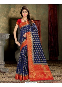 Excellent Navy Blue Banarasi Silk Saree