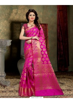 Desirable Pink Banarasi Silk Saree