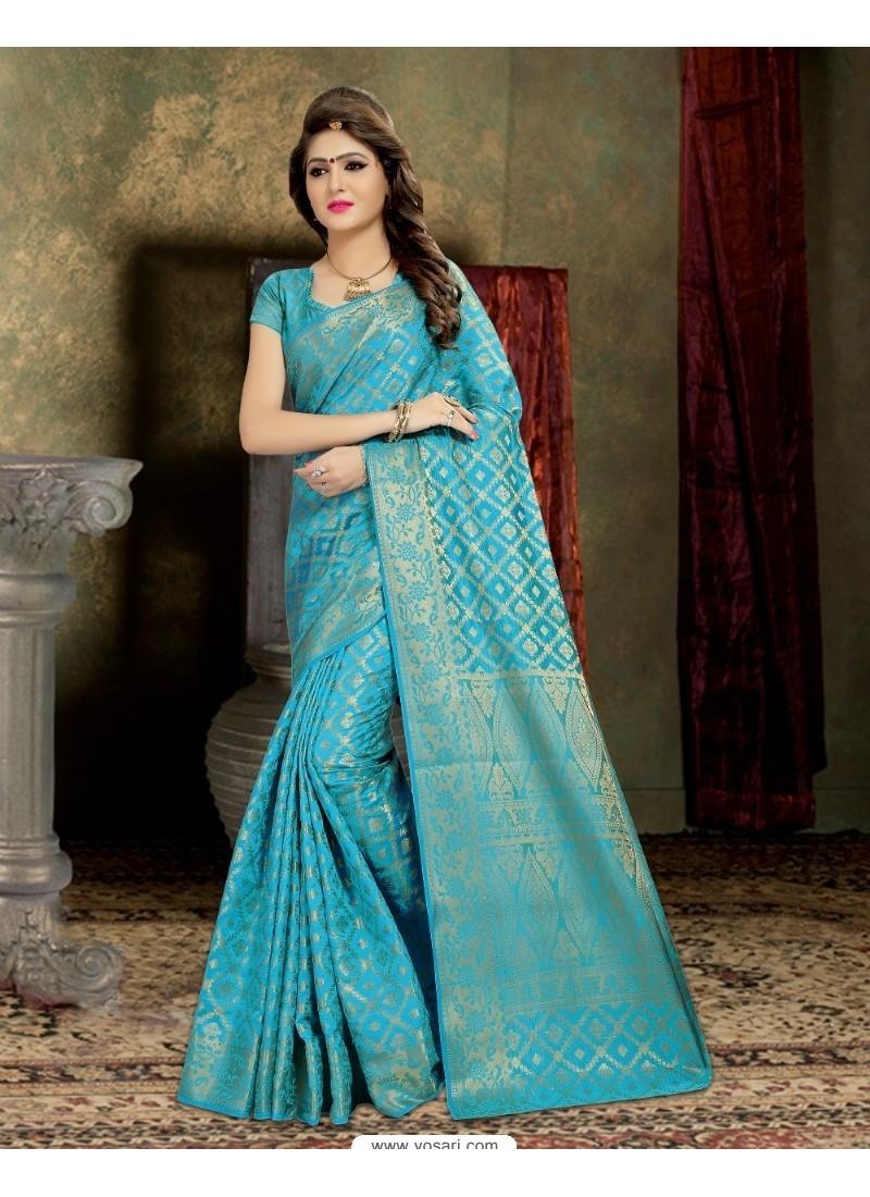 Phenomenal Sky Blue Banarasi Silk Saree