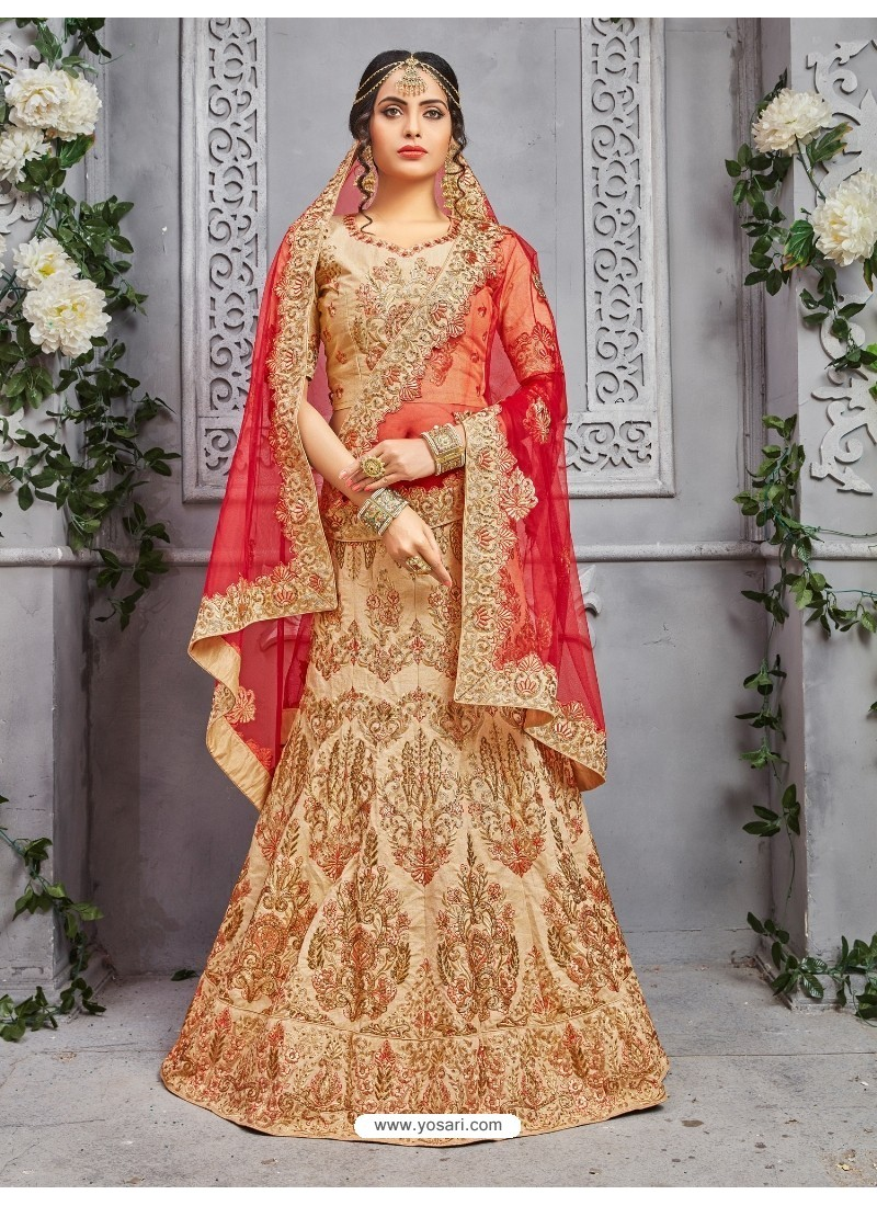 Heavy Designer Pure Silk Beige Lehenga Choli