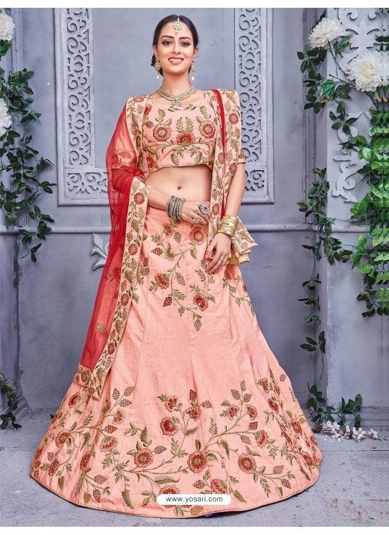 Heavy Designer Pure Silk Baby pink Lehenga Choli