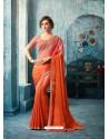 Amazing Orange Silk Georgette Saree