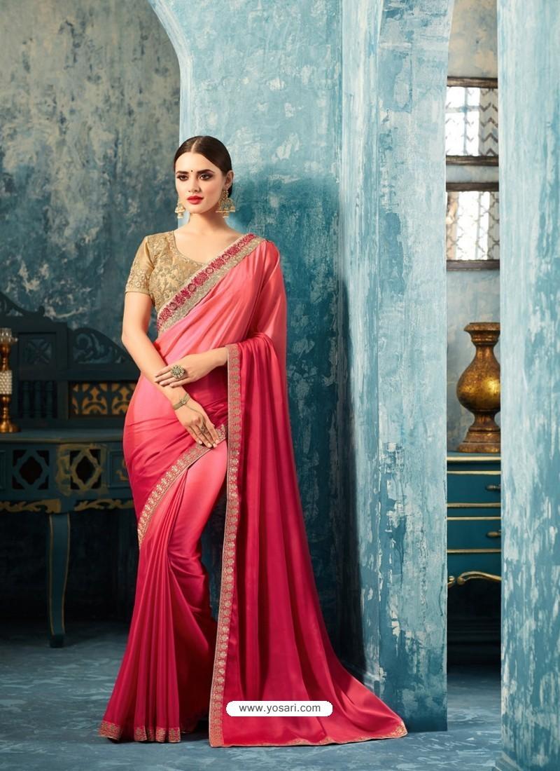 Lovely Crimson Silk Georgette Saree