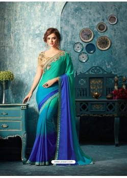 Latest Royal Blue Silk Chiffon Saree