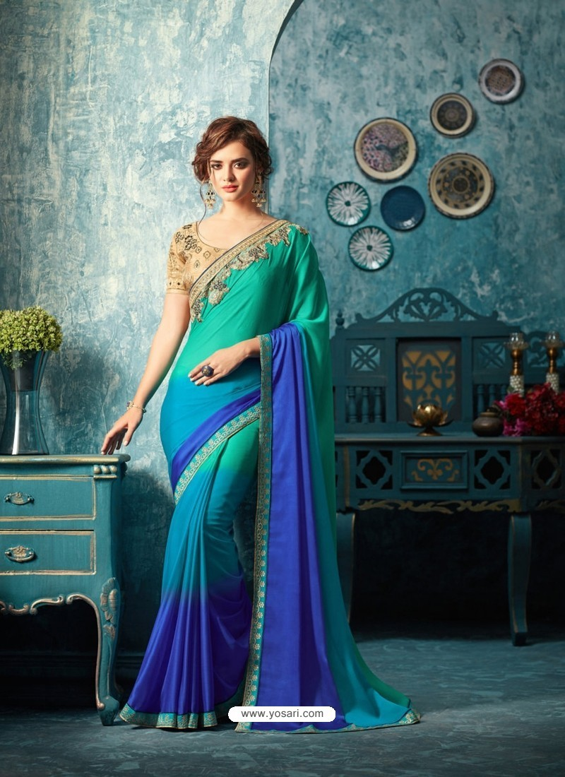 3d991871556b3 Buy Latest Royal Blue Silk Chiffon Saree