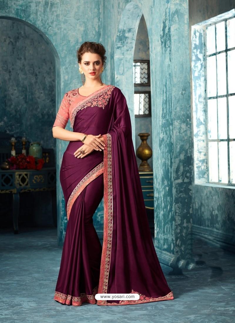 Dazzling Deep Wine Silk Saree