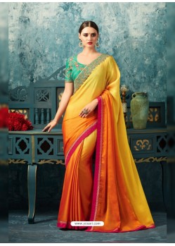 Feminine Yellow Silk Chiffon Saree