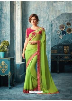 Eyeful Parrot Green Saree