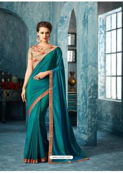Decent Tealblue Silk Saree