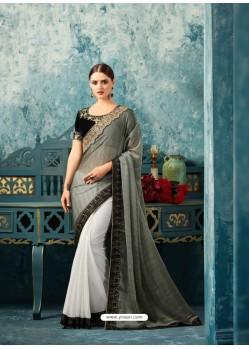 Lustrous White Silk Chiffon Saree