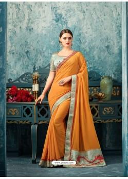 Gorgeous Orange Georgette Saree