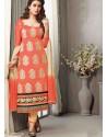 Orange Chanderi Silk Salwar Kameez