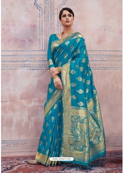 Magnificent Blue Silk Saree