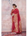Modern Red Silk Saree