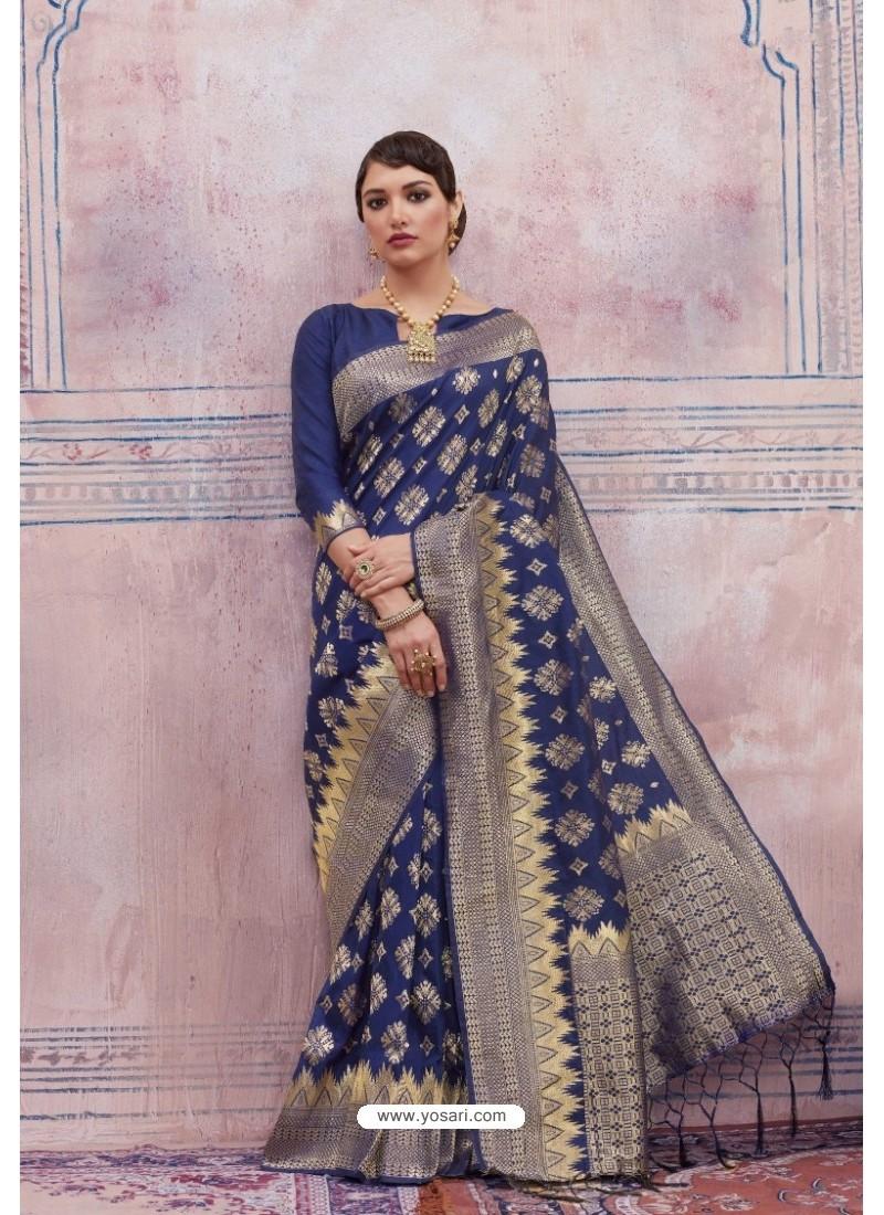 Radiant Navy Blue Silk Saree