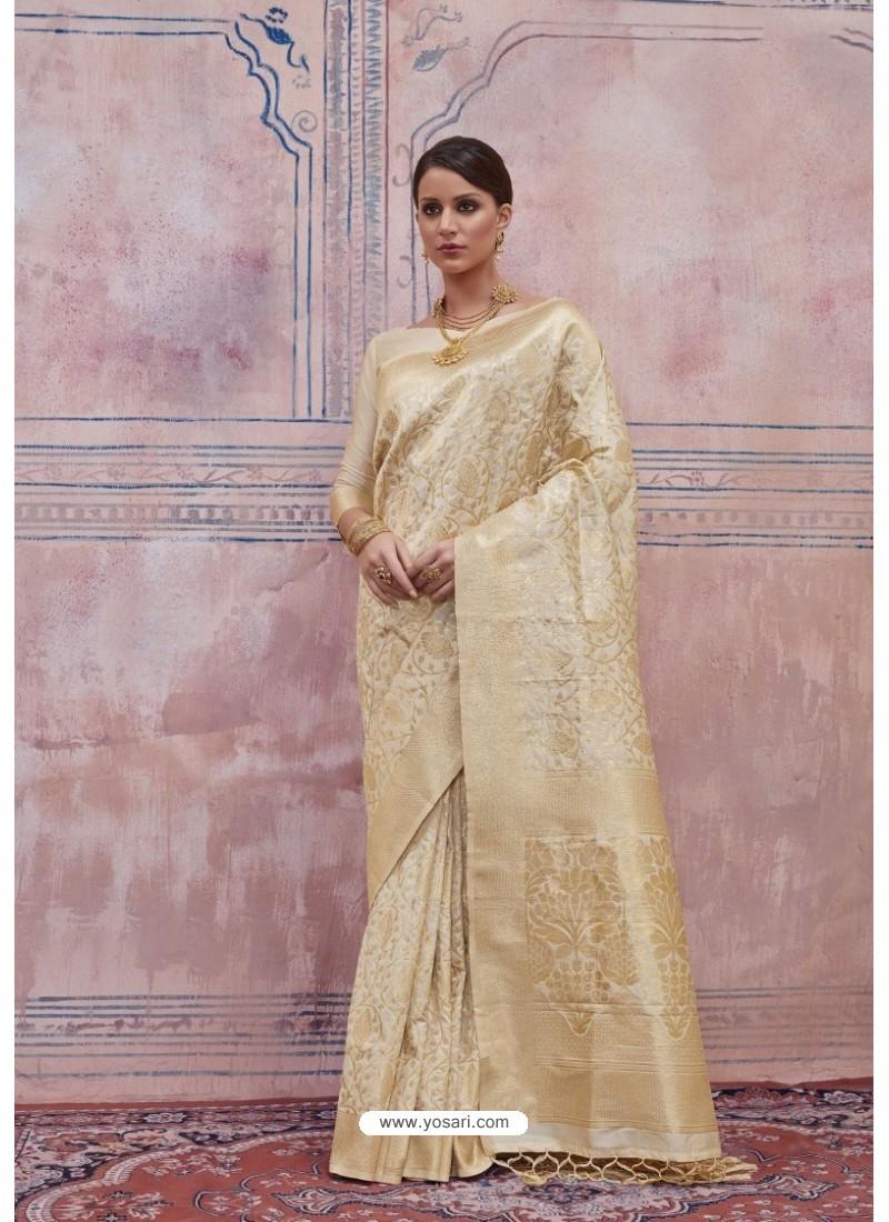 Delightful Beige Silk Saree