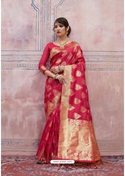 Fashionistic Crimson Silk Saree