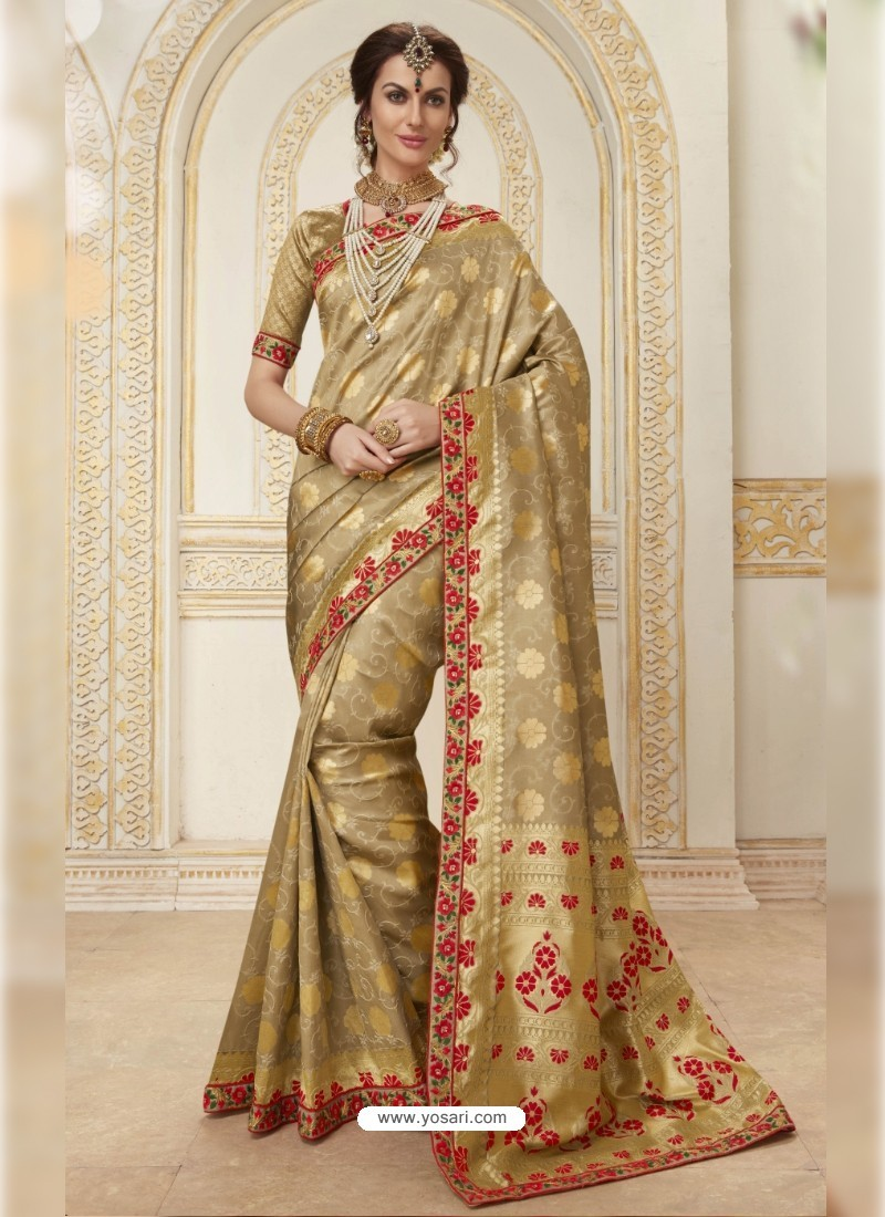 Beautiful Beige Jacquard Silk Embroidered Saree