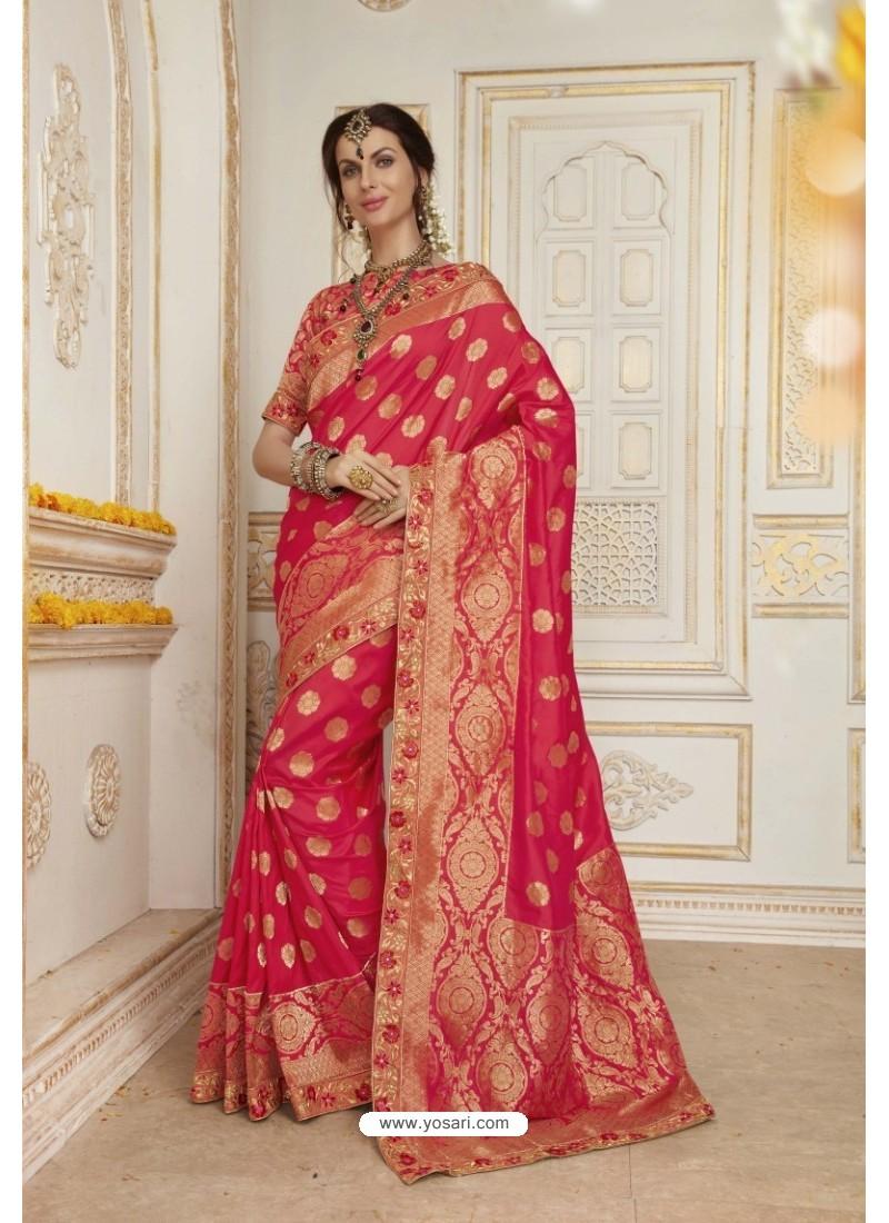 Beauteous Crimson Jacquard Silk Embroidered Saree