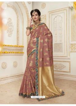 Girlish Brown Jacquard Silk Embroidered Saree