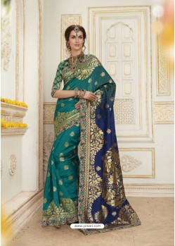 Eye Catching Teal Jacquard Silk Embroidered Saree