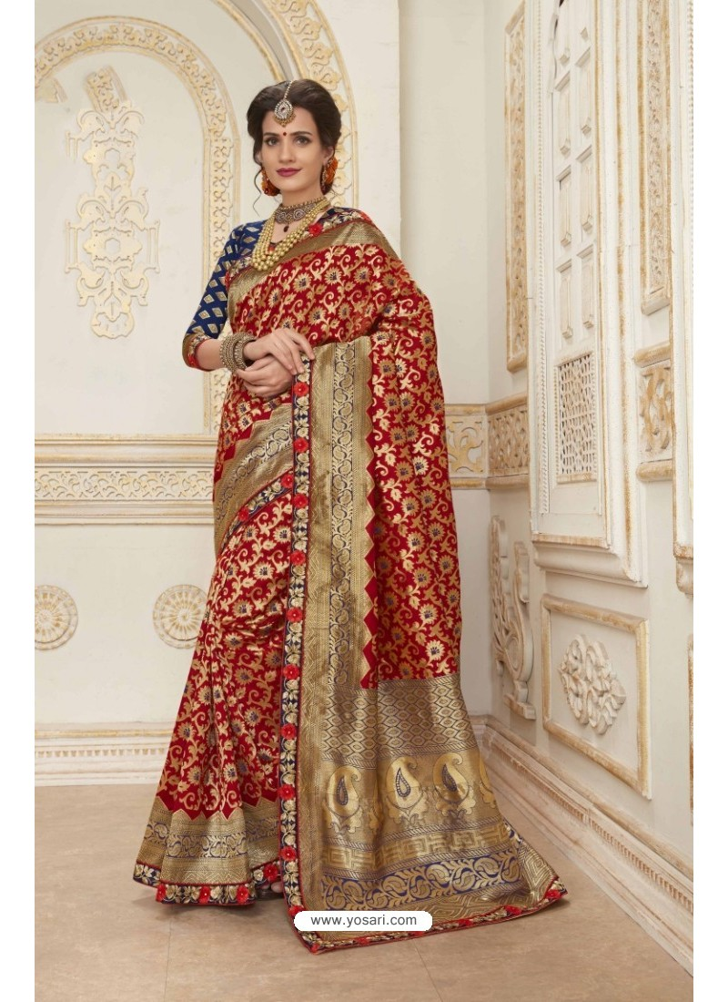 Perfect Red Jacquard Silk Embroidered Saree