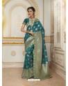 Observable Tealblue Jacquard Silk Embroidered Saree