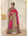 Excellent Fuchsia Jacquard Silk Embroidered Saree