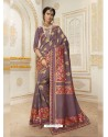 Desirable Grey Jacquard Silk Embroidered Saree