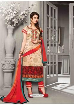 Orange Shade Chanderi Silk Salwar Kameez