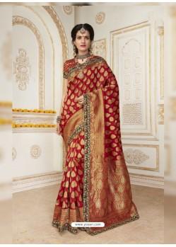 Phenomenal Red Jacquard Silk Embroidered Saree
