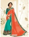 Fabulous Teal Georgette Embroidered Saree