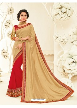 Fab Red Georgette Embroidered Saree