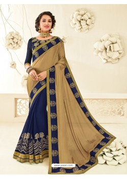 Charming Navy Blue Embroidered Saree