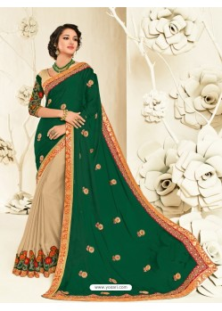 Astonishing Beige Embroidered Saree