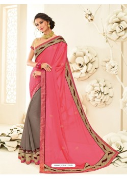 Admirable Peach Embroidered Saree