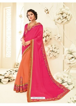 Asthetic Orange Embroidered Saree