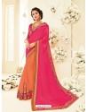Asthetic Orange Embroidered Saree