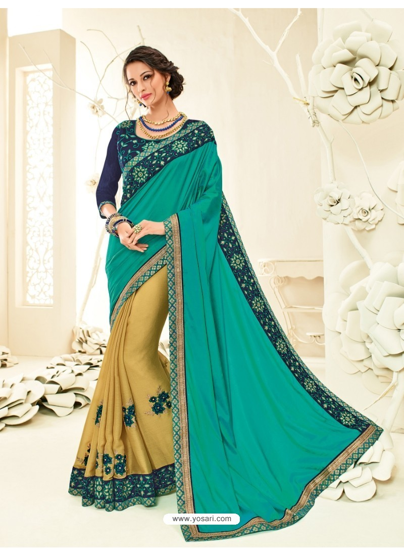 Fashionable Golden Embroidered Saree