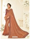 Astounding Maroon Embroidered Saree