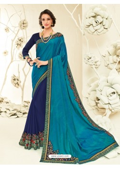 Stunning Turquoise Embroidered Saree